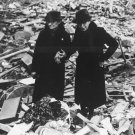 New 5x7 World War II Photo: Ladies walk thru Bombing Rubble in England, 1943