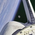 New 5x7 Photo: Moon Framed By Earth & Space Shuttle Discovery over Pacific Ocean