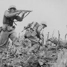 New 5x7 World War II Photo: U.S. Marines Exchange Fire with Japanese on Okinawa