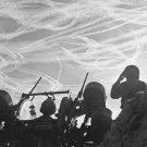 New 5x7 World War II Photo: Soldiers Watch German Aircraft Vapor Trails