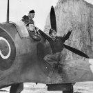 New 5x7 World War II Photo: USAF Crew Observes Spitfire in Flight, 1942