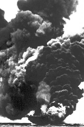 New 5x7 World War II Photo: Flames of USS BUNKER HILL Attack near Okinawa