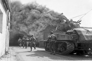 New 5x7 World War II Photo: 55th Armored Infantry Battalion at Wernberg