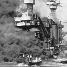 New 5x7 World War II Photo: USS West Virginia at Japanese Attack on Pearl Harbor