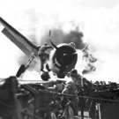 New 5x7 World War II Photo: Crash Landing of an F6F on the USS ENTERPRISE