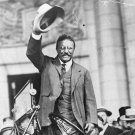 New 5x7 Photo: President Theodore Roosevelt Standing, Waving Hat in a Car