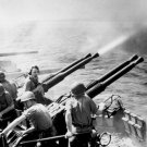 New 5x7 World War II Photo: 40mm Guns of USS HORNET Fire on Japanese