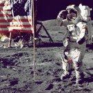 New 5x7 Photo: Astronaut Eugene Cernan Jump-Salutes Flag on Moon, Apollo 17