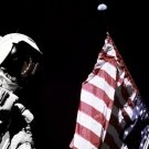 New 5x7 NASA Photo: Harrison Schmitt on Moon by Flag with Earth Above