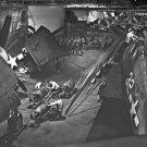 New 5x7 World War II Photo: F6Fs and Men in Hangar Deck of USS YORKTOWN