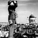 New 5x7 World War II Photo: Airplane Spotter on Roof in London