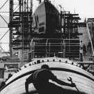 New 5x7 World War II Photo: Work on Submarine Hull in Groton, Connecticut