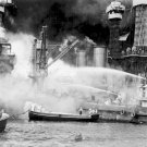 New 5x7 World War II Photo: Ships Aflame during Japanese Pearl Harbor Attack