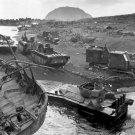 New 5x7 World War II Photo: Disabled Vehicles on Black Sands of Iwo Jima Beach