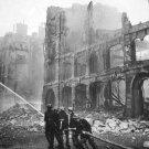 New 5x7 World War II Photo: Firemen at Work in Bombed Street of London, England