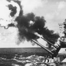 New 5x7 World War II Photo: Guns of the USS IOWA Fire During Drill in Pacific