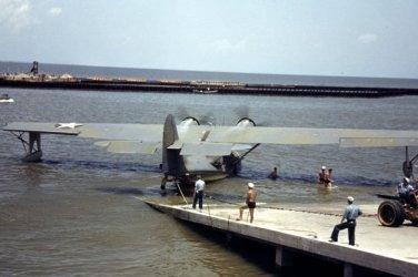 New 5x7 World War II Photo: Navy Sea Airplane at a Naval Air Base in 1942