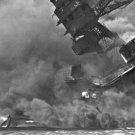 New 5x7 World War II Photo: USS ARIZONA burning at Pearl Harbor Attack, 1941