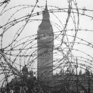 New 5x7 World War II Photo: Big Ben and Houses of Parliament through Barb-wire