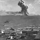 New 5x7 World War II Photo: American Cargo Ship Hit During Sicily Invasion