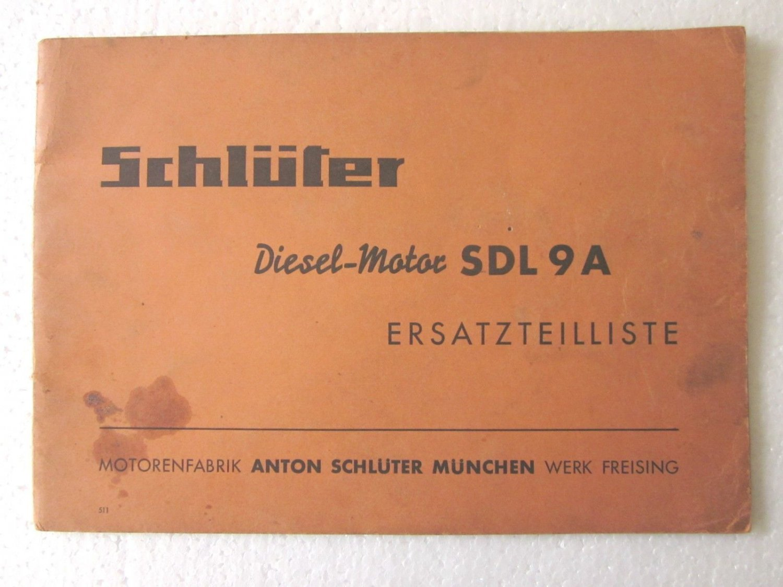 Vintage SCHLUTER DIESEL MOTOR SDL9A CATALOG/MANUAL in 4 languages