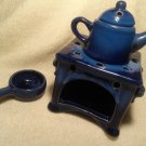 Country Kitchen Ceramic Kettle Stove Oven Oil Warmer Aromatherapy Blue Diffuser