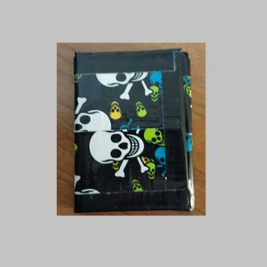 Duct tape tri-fold wallet Skull and Cross bones