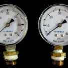 """Used 2 HYPRO pressure gauges 0-60 psi 1/4"""" NPT w/Removable 3/8 NPT Brass Bushings #TADK051810"""