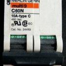 Used Merlin Gerin C60N 10A circuit breaker 2 pole #TADK051810