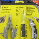 New Stanley 3-Pc Value Pack  Multi Tool, Screwdriver, Pocket Utility Knife