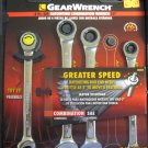 New Gear Wrench 4-pc SAE Ratcheting Combination Wrench Set #58804