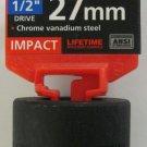 "New MIT 1/2"" Dr. x 27MM Shallow Impact Socket #47779"