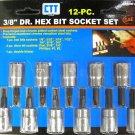 """New Cal-Hawk 12-Pc.  3/8"""" Dr. Hex Bit Socket Set SAE  # ASSHB12"""