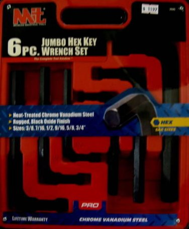 New MIT 6-Pc. SAE Jumbo Hex Key Wrench Set #2535
