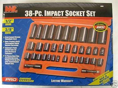 """New MIT 38 Pc 1/2"""" & 3/8"""" Dr  SAE & Metric Socket Set #4888"""