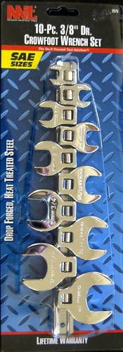 "New MIT 10-Pc. 3/8"" Dr.  SAE Crowfoot Wrench Set # 2575"