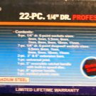 """New Cal-Hawk 22 Pc 1/4"""" Dr Professional MM Socket Set"""