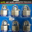 New Cal-Hawk 6-Pc 40MM Key Alike Laminated Padlocks