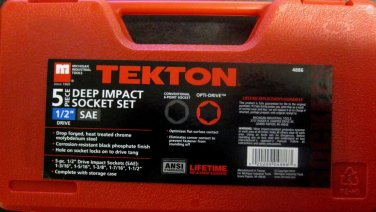 "New MIT/Tekton 5-Pc. Deep Impact Socket Set 1/2"" Dr. SAE # 4886"
