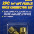 "New ATE 2 Pc 1/4"" NPT Brass Female Hose Connector Set # 10841"