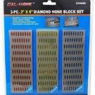 "New Cal-Hawk 3 Pc. 2"" x 6"" Diamond Hone Knife Sharpening Stone Block Set # CZDSB6"
