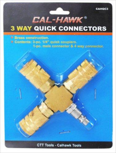 New Cal-Hawk 3 Way Brass Quick Coupler Connectors # CAHQC3