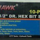 New Cal-Hawk 10 Pc MM 3/8'' & 1/2'' Dr. Hex Bits Socket Set # ASSHB10M