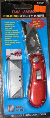 Cal-Hawk Folding Utility Knife w/10 Blades # CKUF