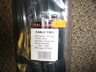 "New Cal-Hawk 14"" 100 Pc Bag Long Black Cable Ties # CCTB14"