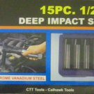 "New Cal-Hawk 15 Pc 1/2"" Dr SAE Deep Impact Socket Set  # AISDCVB15S"