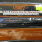 New Vallley 10-Pc. T-Hanle Hex Key Wrench Set SAE #WRHKTH-10S