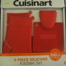 New Cuisinart 6-pc Silicone Kitchen Set Red