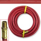 "25 ft x 1/4"" ID CONTINENTAL Red Rubber Air Hose 250 PSI W.P."
