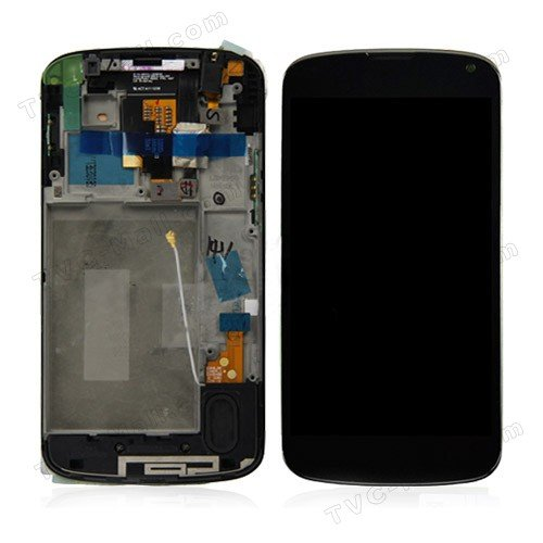 NEW OEM LG Google Nexus 4 E960 LCD Screen with Digitizer Touch + Bezel Faceplate Frame